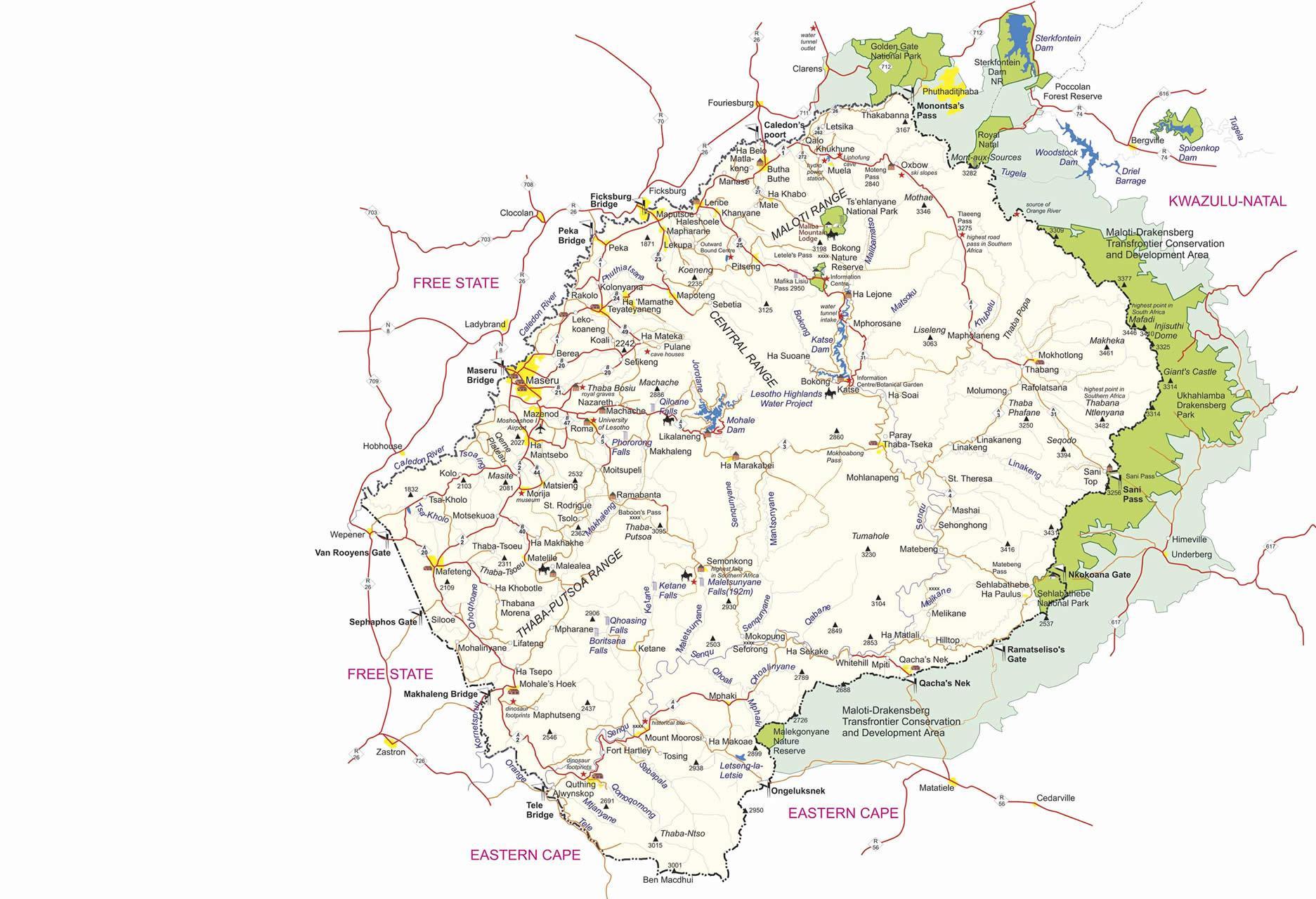 Lesotho Graenseposter Kort Kort Over Lesotho Graensekontrolsteder