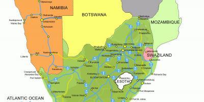 Lesotho Og Sydafrika Kort Kort Over Lesotho Og Sydafrika Og Det